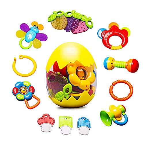 Jouet de Hochets Anneau Dentition - Bébé Hochet de Dentition 7PCS Jouets d'Eveil Ensemble de Hochets en Forme de Fruits et Légumes pour Infantile Nouveau-Né Bébés de 0, 3, 6, 9, 12 Mois