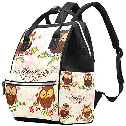 Sac à langer multifonction pour bébé Hello Spring avec motif chouette, sac à dos de voyage pour maman et papa