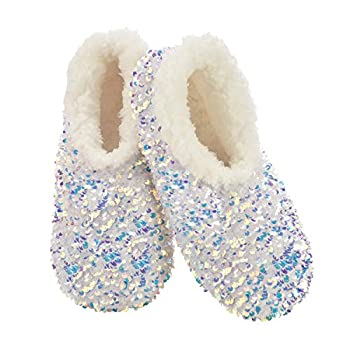 Snoozies Womens Slipper Socks - Cozy Slippers for Women - Fuzzy House Slippers for Indoor Use - Soft Sole Slippers -Womens Opal Sequin Glam - Medium