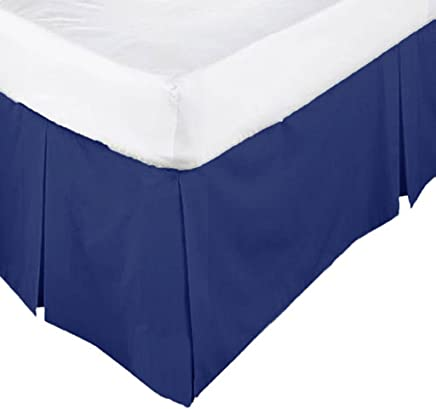 Scala Hotel Design Thread Count 650 Egyptian Cotton Tailored Split Corner Bed Skirts Twin Size Solid Drop Length 12 Inches Navy Blue