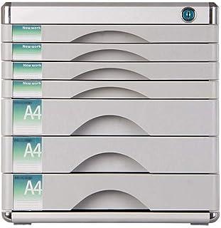 Nologo SH-CHEN Desktop Drawer Sorter, Aluminum Alloy 7-Layer Newspaper Racks Drawer Lockable Desktop Drawer Organizer (Colour-Silver 12in14.4in12.2in) File Cabinets