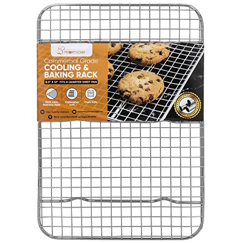 PriorityChef Cooling Rack and Baking Rack, Fits Quarter Sheet Pan, 100% 304 Stainless Steel, Wire Baking Cookie Bacon Racks For Oven Use