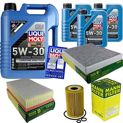 Filter Set Inspektionspaket 8 Liter Liqui Moly Motoröl Longtime High Tech 5W-30 MANN-FILTER Innenraumfilter Luftfilter Ölfilter
