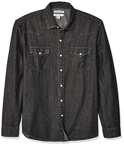 Amazon Essentials - Camisa tejana de manga larga y corte recto para hombre, Negro, US XS (EU XS)