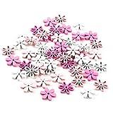 Logbuch-Verlag 54 mini flores decorativas de madera rosa, rosa y blanco – pequeñas flores decorativas de madera para esparcir como decoración de mesa, bautizo, comunión