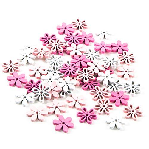 Logbuch-Verlag 54 fiori legno rosa fucsia bianco shabby chic fiore decorazione tavolo festa matrimonio naturale decorare bricolage fai da te