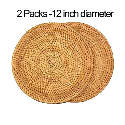 """12"""" Round Rattan Placemats-Insulated Hot Pads,Durable Pot holder for Table, Pots, Pans & Teapots,Natural Wooden Heat Resistant Mats for Kitchen,Set of 2 Pieces"""