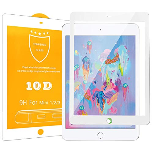 OnyxTM Premium 10D Full Coverage Gorilla Ultra HD+ 0.26 mm Pellicola Protettiva Tempered Glass Protector per Apple iPad Mini 1/2 / 3-9H – Bordo Bianco