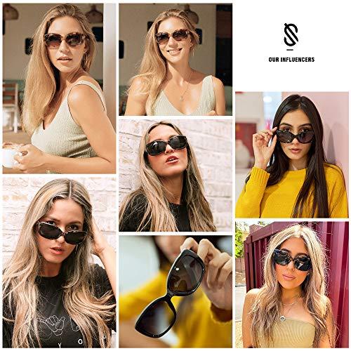 SOJOS Vintage Square Sunglasses for Women Polarized UV Protection Havana Frame SJ2111 Tortoise+Black Tortoise (2 Pairs of Sunglasses)