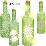 alles-meine.de GmbH 2 Stück _ Glas - LICHT Dekoflaschen - 5 Stück LED - Tropische Blätter / Monstera Blatt / Palmen - grün - Lichtflaschen / Flaschen mit Licht - 30 cm - Batterie..