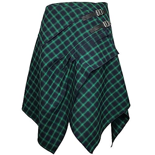 The Celtic Ranch Tartan Skirt, Women's Plaid Skirt with Pockets, Ladies' Traditional Scottish Skirts (Sea Blue/Absinthe Green, Medium)