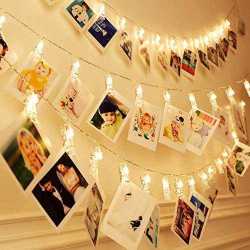 GZJ 2 Mt / 5 Mt / 10 Mt LED foto clip lichtsnoer LED lichtsnoer lichtsnoer batterij aangedreven slinger kerstdecoratie party bruiloft Kerstmis (warmwit)