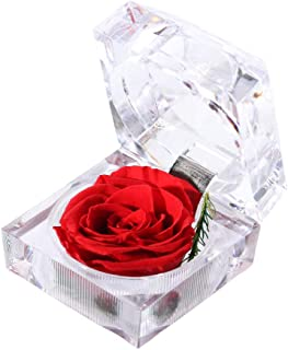 Preserved Fresh Flower Eternal Rose with Acrylic Crystal Ring Box, Gifts for Women, Her, Girls, Mother's Day, Valentine's Day, Christmas,Thanksgiving Day, Anniversary, Birthday, Wedding (Skyfire)