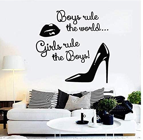 Adhesivo De Pared Vinilo Apliques De Pared Moda Mujer Labios Zapatos Regla...