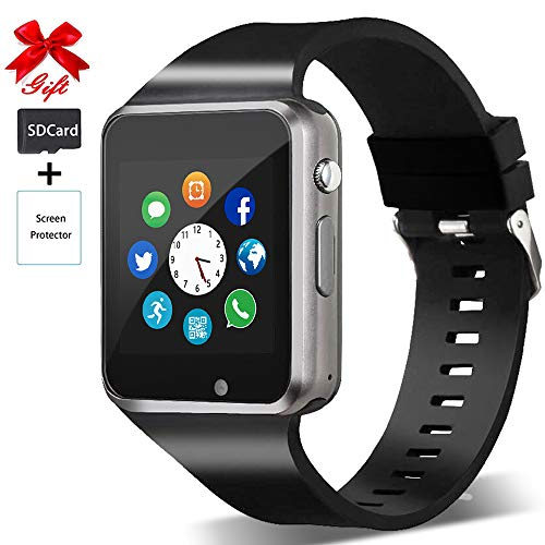 Bluetooth-Smartwatch, Bluetooth, Smart-Watches ohne SIM-Lock, Telefon kann Anrufen und SMS mit Touchscreen Kamera Benachrichtigung Sync kompatibel für Android und iOS Handy (App nicht verfügbar)