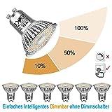EACLL Bombillas LED GU10 Regulable Blanco Cálido, 6W 2700K 570 Lúmenes, 3 tipos de brillo. Ajuste de Luz no se necesita...