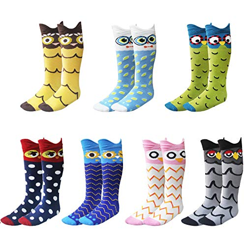 Deer Mum Child Owl Knee High Socks