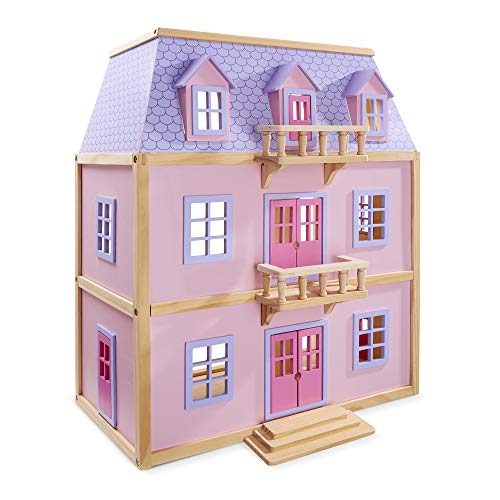 Melissa & Doug Multi-Level Wooden Dollhouse With 19 pcs...