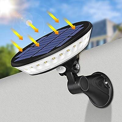 A-ZONE 360 Solar Security Light, 29 LED Solar Motion Sensor Light with Adjustable Solar Panel, UFO Solar Wall Light, IP65 Waterproof LED Spotlight Solar Light for Yard Garden Garage Front Door Patio