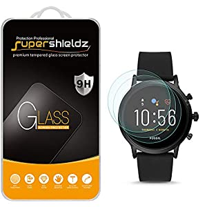 (3 Pack) Supershieldz for Fossil Gen 5 Smartwatch Carlyle HR Tempered Glass Screen Protector, Anti Scratch, Bubble Free
