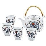 fanquare Juego de Té Japonés de Porcelana Azul y Blanca, Servicio de Té de Grúas y Escamas de...