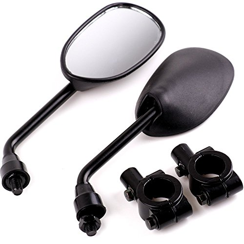 Oalas Black Retro Style Side Rearview Mirror w/ 7/8' Handlebar Mount 8mm Adaptor For Mountain Bike BMX Bicycle Motorcycle Dirt Bike ATV Cruiser Chopper-Pair