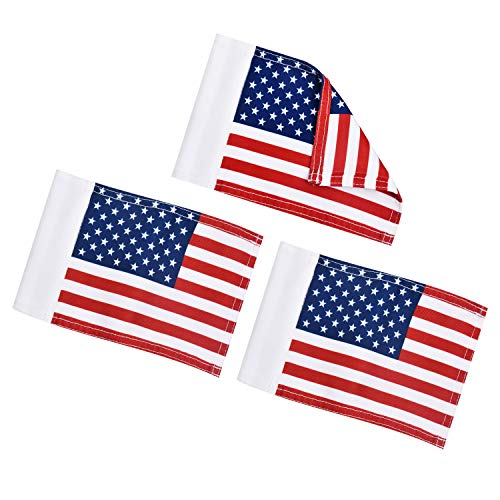 """KINGTOP US Golf Flag, Double-Sewn American USA Flags, Regulation Tube Flag, Practice Putting Green Flag for Yard, 600D Polyester Mini Pin Flags, 8"""" L x 6"""" H, 3-Pack"""