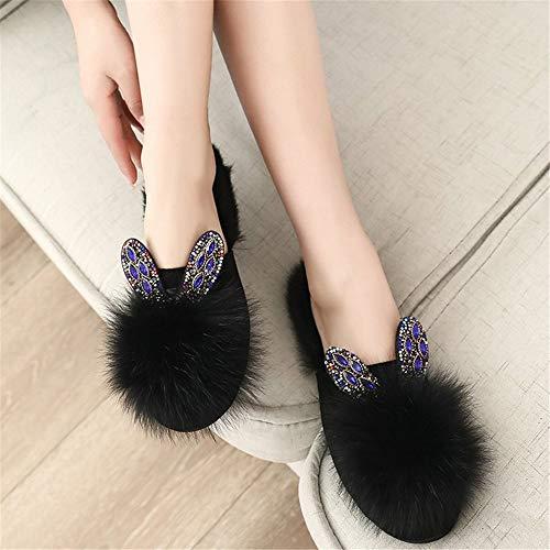 lhxyx Wintertierpelzpantoffeln süße Kaninchenschuhe Studenten tragen Damenpantoffeln, schwarz, 39
