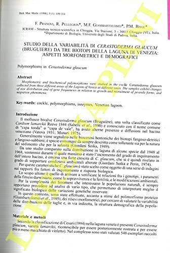 Studio della variabilita' di Cerastoderma glaucum (Bruguiere) da tre biotopi della Laguna di Venezia: aspetti morfometrici e demografici.
