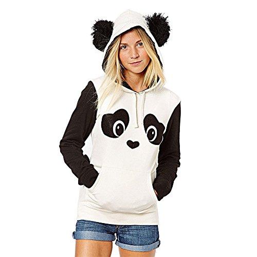 Damen Kapuzenpullover Lange Ärmel Hoodie Pullover Ronamick Frauen Panda Tasche Hoodie Sweatshirt mit Kapuze Pullover Tops Bluse (Weiß, M)