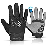 Kyncilor Cycling Gloves Bike Gloves Winter Gloves for Men Women with Touch Screen-Full Finger Running Gloves Workout Gloves with Anti-Slip Silicone Palm(BK-M)