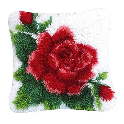 freneci Kits de Gancho de Pestillo de Funda de Almohada Hechos a Mano Kit de Enganche de Alfombras de Pestillo de Flores Rosas para Mujeres