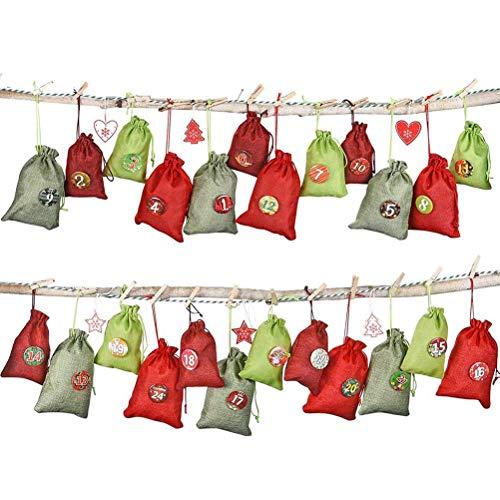 WENTS Adventskalender zum Befüllen 24 Stoffsäckchen Kette Set zum Selbstbefüllen Aufhängen, Jutesäckchen Stoffbeutel Beutel Säckchen, Boden mit 1-24 Zahlen für DIY Deco Weihnachtskalender