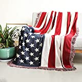 American Flag Throw Blanket Reversible Soft Woven Thick Large Tassels Rug Vintage Print Tapestry Chair Couch Sofa Bed Cover