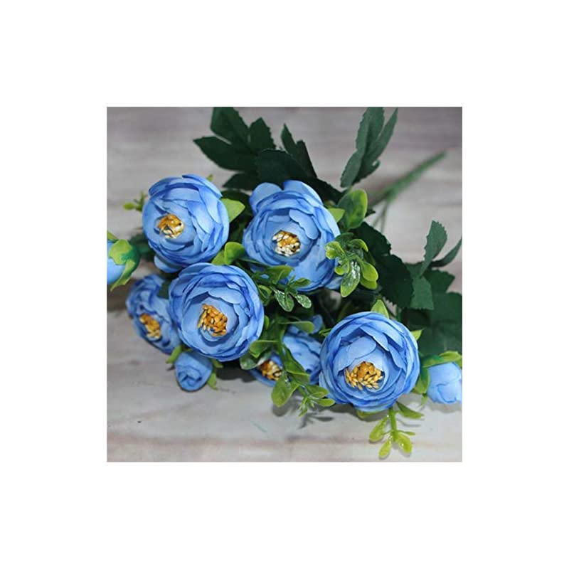 silk flower arrangements genericb vintage artificial peony silk camellia flowers bouquet wedding home decoration (blue)