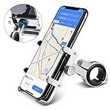 homeasy Soporte Móvil Bicicleta y Motor, Soporte Teléfono Bicicleta Ajustable Portamovil Moto Anti Vibración para 3.5'-7' Smartphones con Rotación 360°(Plata)
