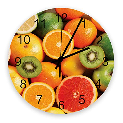 PartyShow Fruit Orange Kiwi Fruit Large Wooden Round Wall Clocks, Modern Silent Wall Clock for Office Patio Living Room Decor 12'' Diameter and 0.2'' Thickness