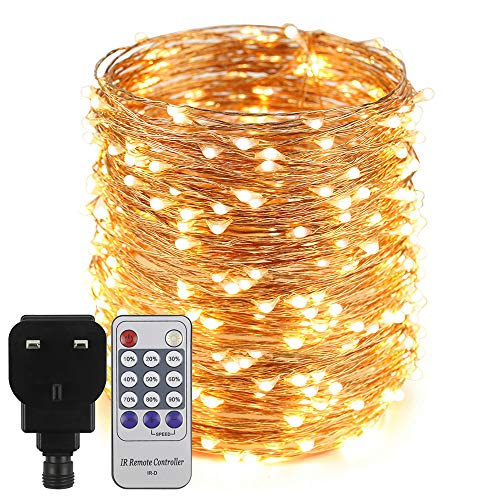 Erchen Plug in Fairy Lights, 165 FT 50M 500 LED Dimmable Copper Wire LED Starry String Lights with 12V DC Power Adapter Remote Control for Wedding Christmas Party Bedroom (Warm White)