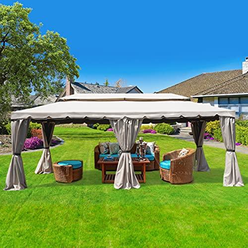 gazebo da giardino 6x3 Yellowshop - Gazebo in alluminio da Giardino con zanzariere e Teli antipioggia richiudibili Beige - Fortaleza (Mt 6x3)