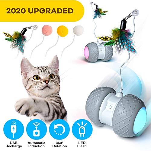 Ventvinal Katzenspielzeug Elektrischer Interaktives Ball,Automatischer Drehender Katzenball mit USB-Aufladung des LED-Lichts,Katzen Roller Ball Intelligenzspielzeug für Cat Haustiereignung