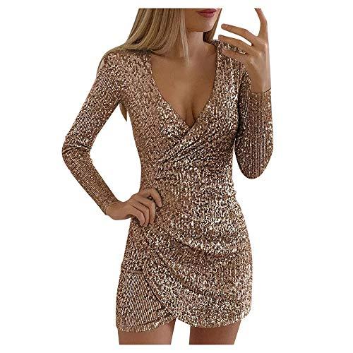 YEBIRAL Damen Kleid Paillettenkleid Partykleid Abendkleid Glitzer Minikleider Elegant Bodycon Kleid Langarm V-Ausschnitt Clubwear Sexy Kurz Wickelkleid Ballkleider