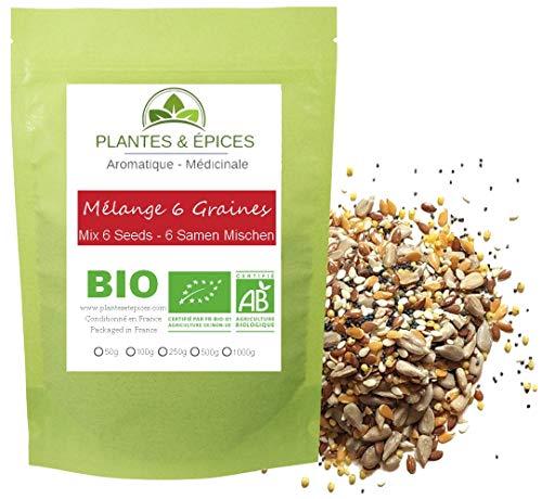 Plantes & Epices - Mélanger Boulanger BIO, 6 graines (Pavot, lin, millet, tournesol, sésame) - Sachet Fraîcheur Biodégradable Refermable (500g)