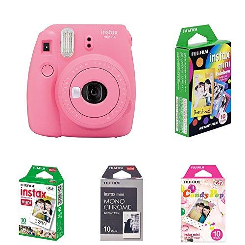 Fujifilm Instax Mini 9 Kamera, flamingo rosa mit Film Box