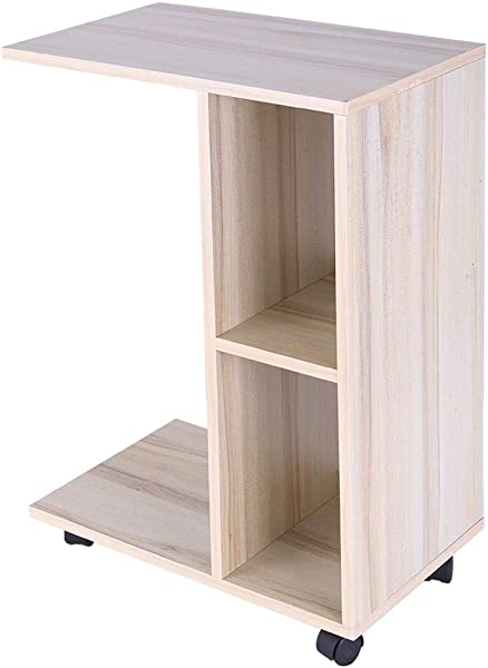 Fullyday Lazy Bedside End Table Simple Movable Bookshelf Coffee Tea Table 20x12x27 Inches Ship From USA