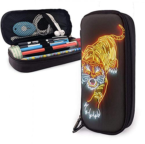 Astuccio per matite in pelle Neon Tiger Pu, borsa per penna di grande capacità, organizer per cancelleria per studenti durevoli con cinture elastiche a doppia cerniera per ufficio scolastico