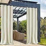 ZJXSNEH Outdoor Wasserdichter Vorhang Tab Top Wärmeisolierter Verdunkelungsvorhang für Patio Garten Veranda Pavillon Beige Breite 300 x Höhe 200cm 1PC