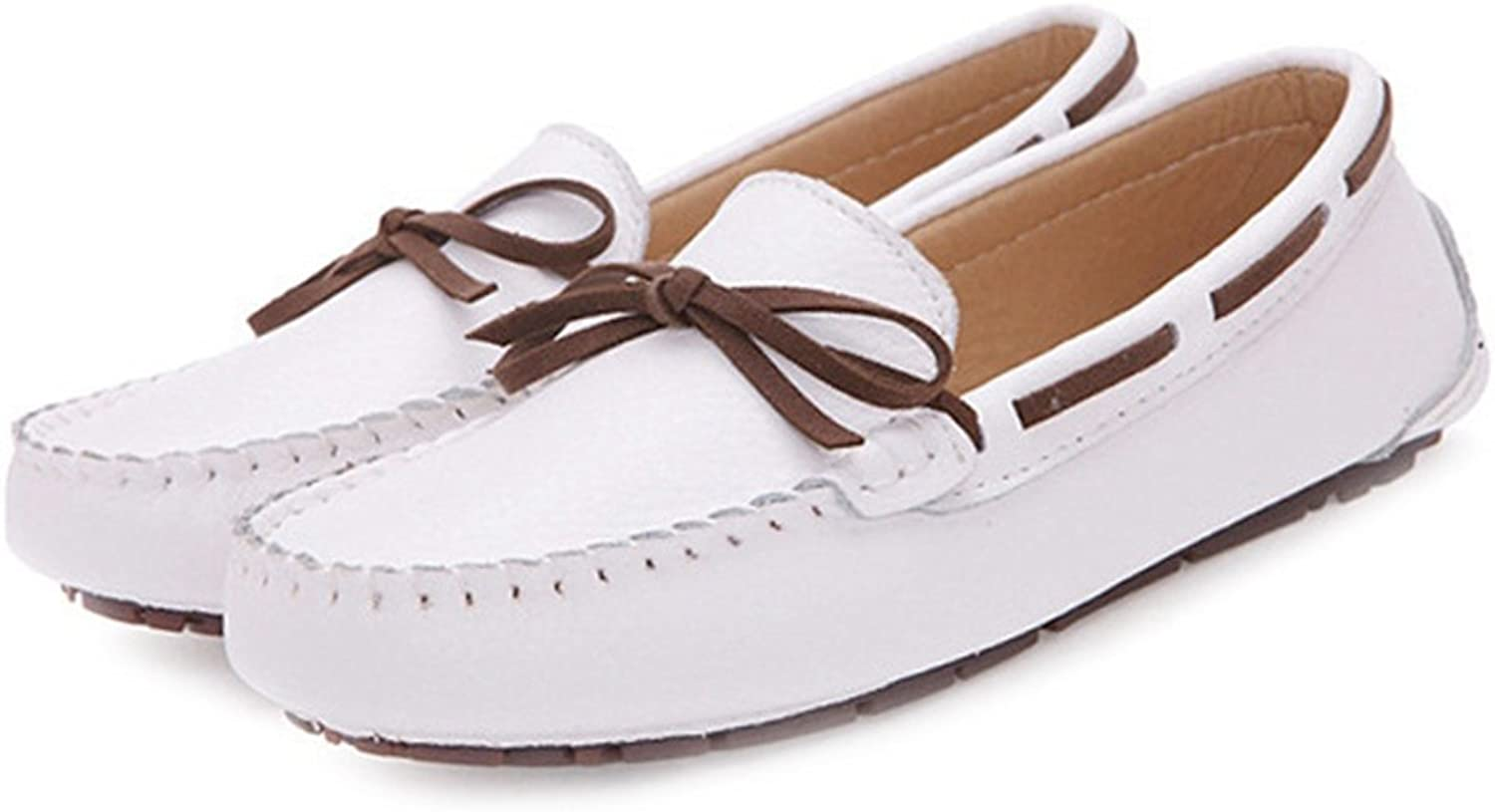 T-JULY Women's Bowknot Loafers shoes Fashion Casual Lightweight Non-Slip Moccasin Flat shoes