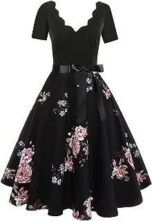 Vintage Print Flare Dress,Sleeveless&Short Sleeve,Women Bow Belt Party Evening Dress,Plaid&Flowers&Music Score