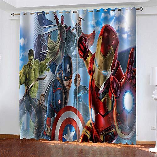 Meer 2er-Set Verdunkelungs Vorhang,Iron Man Captain America Kinder Gardinen Ösen Gardine Thermo Polyester Schlafzimmer Vorhänge Dekoratives Muster Européen 166 x 150 cm (HxB)