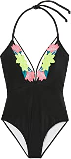One Piece Swimwear Pink Embroidered Strappy Black Medium